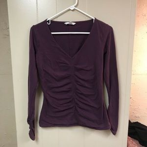 Cabi purple ruched tee.